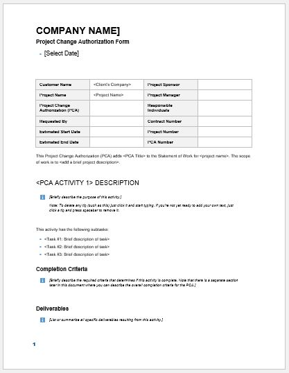 Project change authorization form