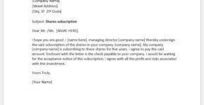 Stock Subscription Letter