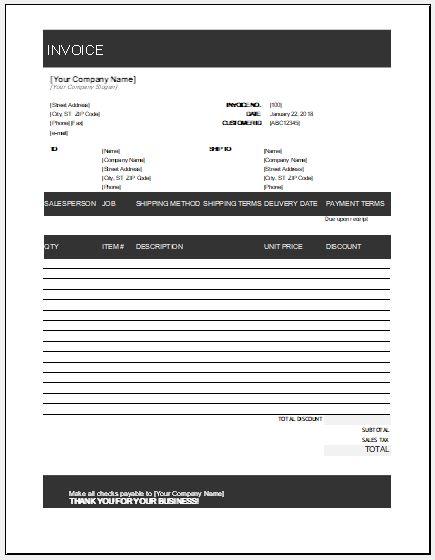 sales invoice template