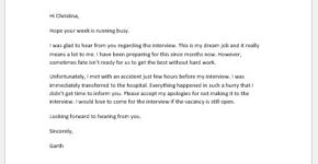 Apology letter for not attending an interview