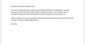 Breach of contract termination letter