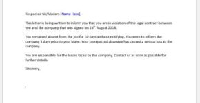 Breach of Contract letter to employee