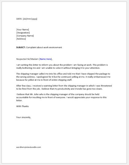 Complaint letter to boss about work environment