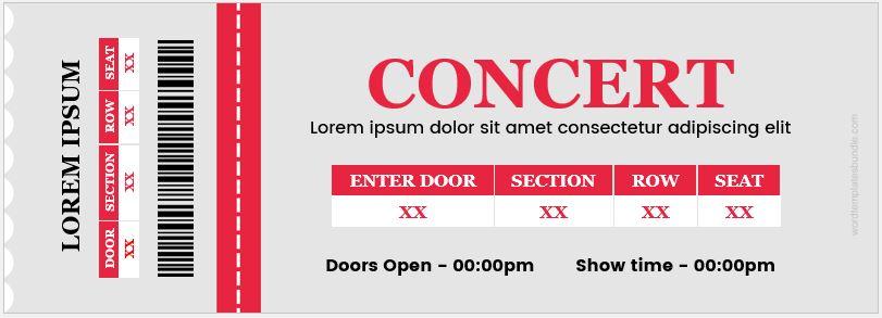 Concert Ticket  Concert Ticket Templates