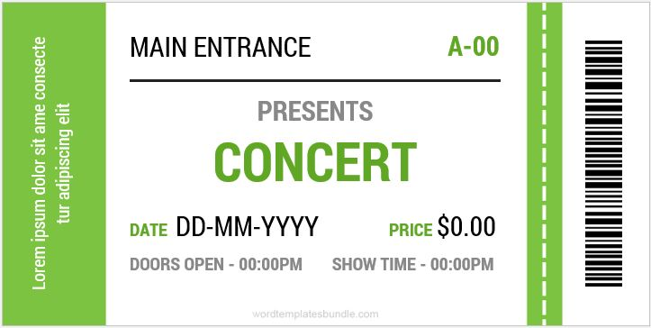Concert Ticket Templates For Ms Word  Formal Word Templates