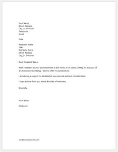 Employment Seeking Letter Samples For Ms Word Formal