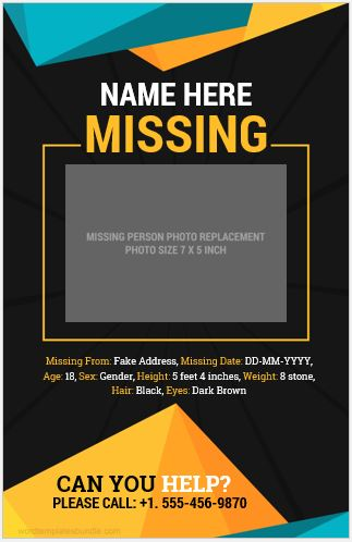 Missing Person Poster Template  Missing Person Poster Template