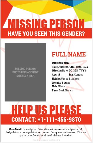 5 Editable Missing Person Poster Templates Formal Word Templates