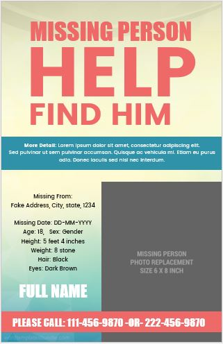 Missing Person Poster Template PDF  Missing Person Picture