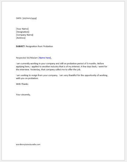 resignation letter format in probation period resignation letter during probation period formal word 16166