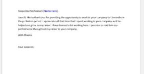 Thank you letter after probation period