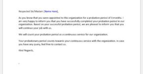 Three months successful probation period letter