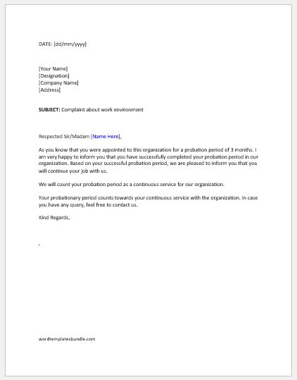 Three Months Probation Period Letters Formal Word Templates