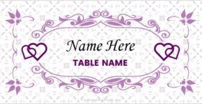 Wedding place card sample