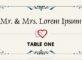 Wedding Table Card Sample