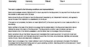 Equipment bill of sale template