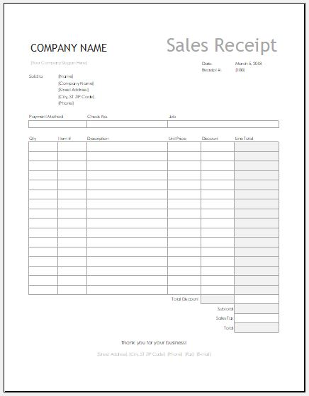 Equipment sales receipt for Excel