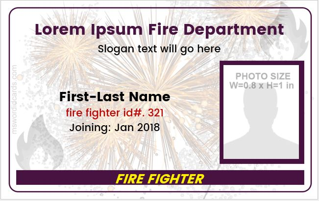 Fire Department Photo ID Badge Sample