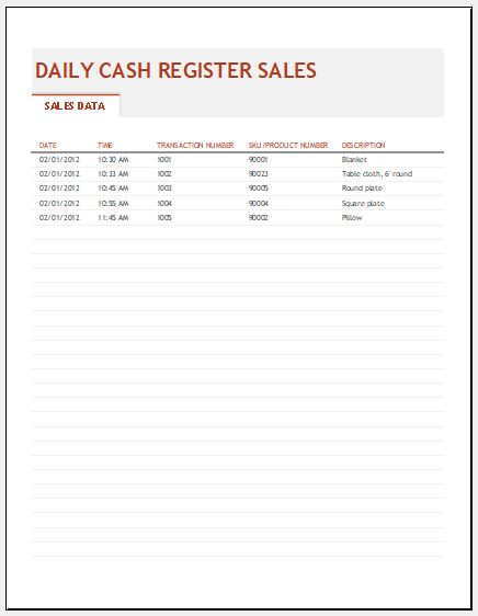 General store daily sales report template
