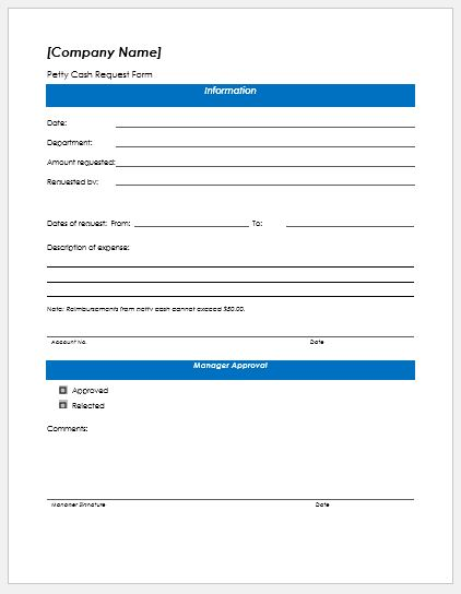 High Quality Petty Cash Request Form