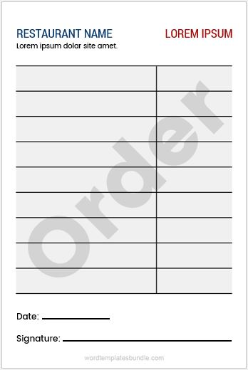 Restaurant Order Pad Sample