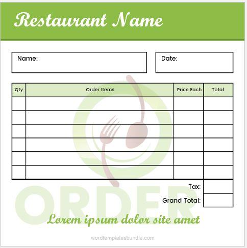 "Restaurant Order Pad 5"" x 5"""