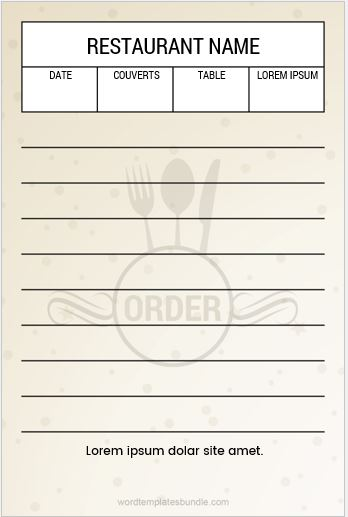 Restaurant Order Pads Fitbo Wpart Co