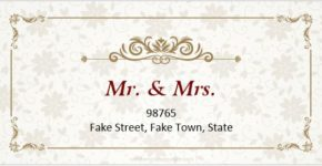 Wedding address label sample