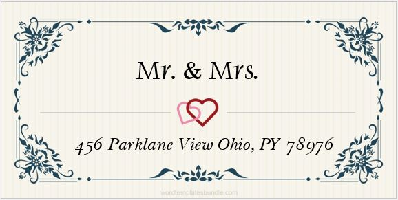 wedding mailing labels templates - 6 wedding address label templates for ms word formal