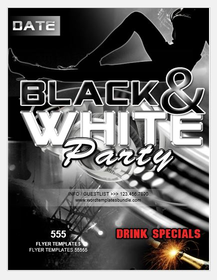 Black and White Party Flyer Template