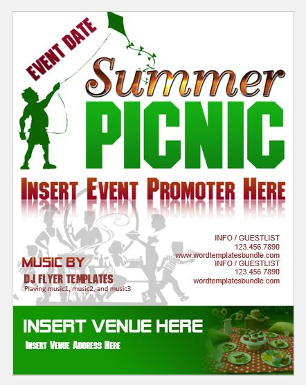 Summer Picnic Party Flyer Template