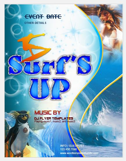 Surfs Up Party Flyer Template