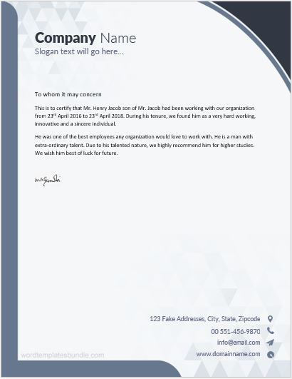 Work experience certificate sample