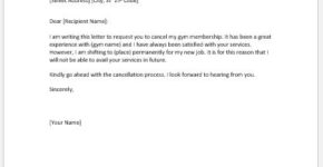Gym cancellation letter due to shifting