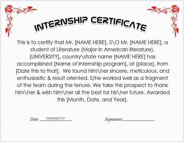 Internship certificate wording templates formal word templates internship certificate template altavistaventures Images