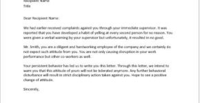 Warning letter for bad behavior in office