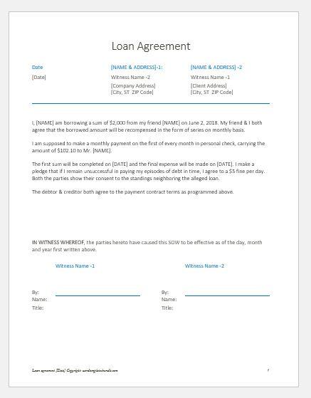 Loan agreement letter between friends