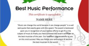 Music performance certificate template