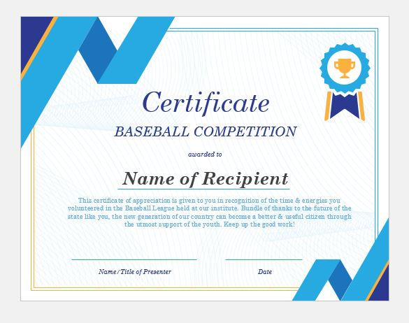 baseball certificate wording templates formal word templates