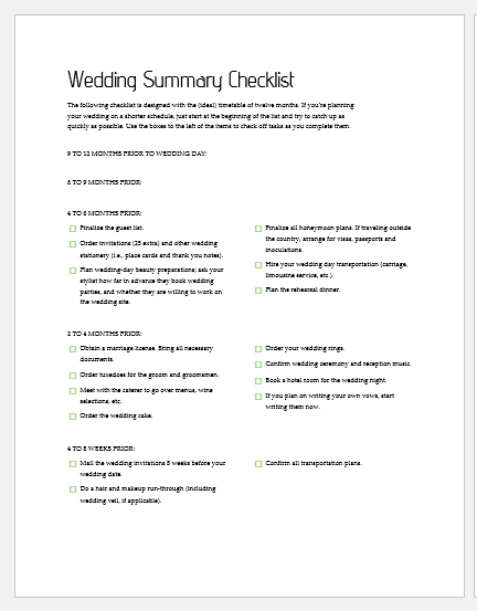 Wedding summary checklist template
