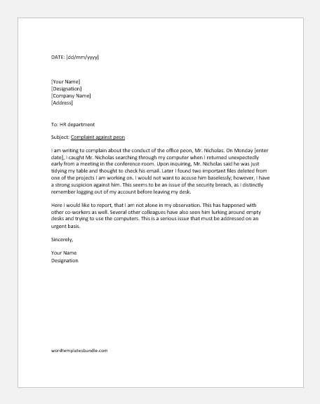 Complaint letter against peon