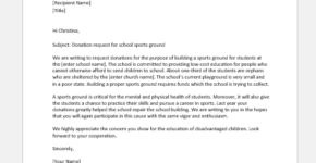Donation request letter for sports ground in school