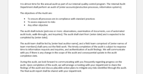Internal audit engagement letter