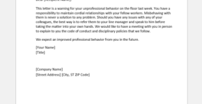 Warning letter for unprofessional behavior