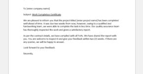 General work completion letter
