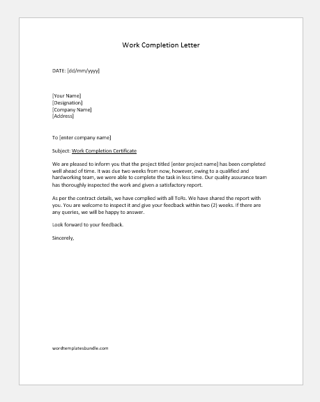5 Work Completion Letters For Various Contracts Formal