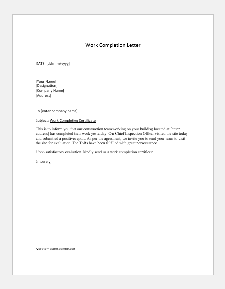 Construction work completion letter