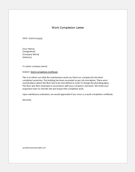 Maintenance work completion letter
