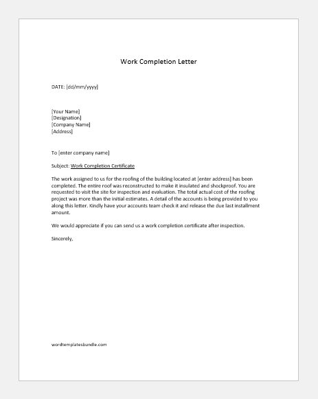 Work completion letter