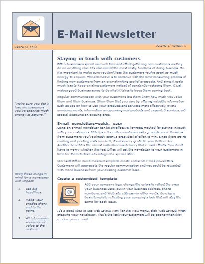 Sample Newsletter template
